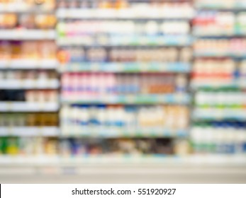 Abstract blurred supermarket with dairy product on shelves