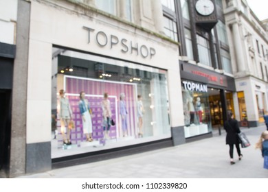 Abstract blurred of Topshop shop in Liverpool, England on May 01, 2018.