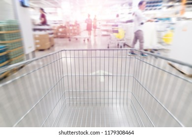 Abstract blurred trolley at department  store background.
