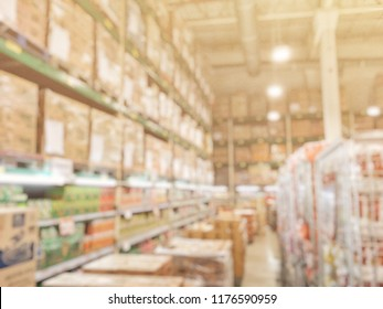 Abstract blurred of wholesale store. Blur of people in wholesale store with abstract bokeh light background. Wholesale store is a place to sell cheap for retailer.