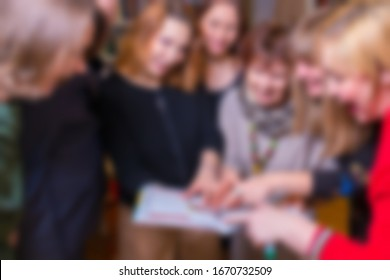 Abstract blurring of people lecture in the seminar room, the concept of training or training