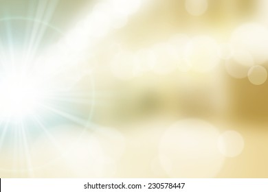 Abstract blurry background with a lot of bokeh and strong lens flare