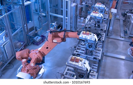 Abstract, blurry, bokeh background, image for the background. Industrial picking, robot in production line manufacturer factory