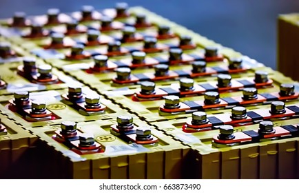 Abstract, blurry, bokeh background, image for the background. Production of lithium batteries for environmentally friendly electric cars