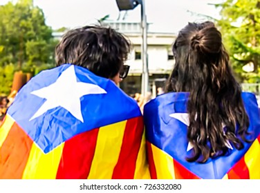 Abstract, blurry, bokeh background,  image for the background. Catalonia and referendum, independence of Catalonia