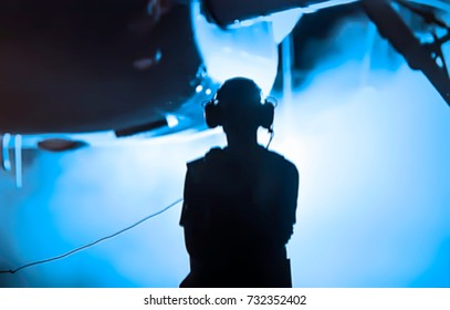 Abstract, blurry, bokeh background, image for the background. Engineer, aircraft preflight inspection
