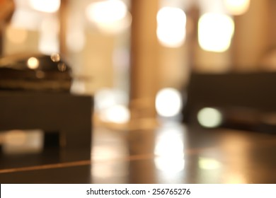 Abstract blurry bright restaurant interior table top