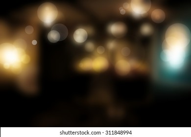 Abstract blurry dark room with light bokeh copy space
