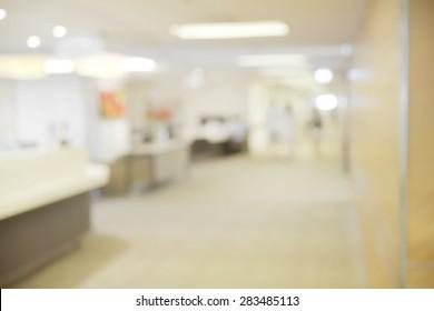 Abstract blurry hospital hallway