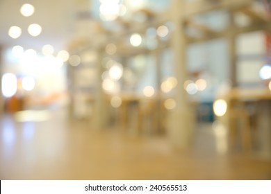 Abstract blurry restaurant inside shopping mall