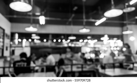 Abstract blurry scene of inside restaurant pub and bar - Black and White