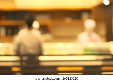 Abstract blurry sushi counter in vintage style decoration restaurant