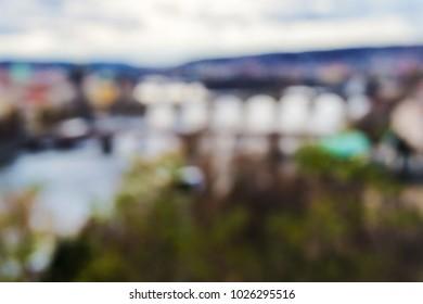 Abstract boke, blur, blurred background of Prague, Czech Republic.