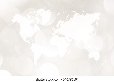 Abstract bokeh background of light for celebration new year and christmas with world map