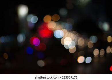 Abstract bokeh cityscape, bokeh traffic light in bangkok
