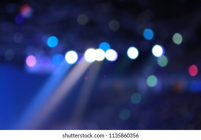 Abstract bokeh light in conference hall.