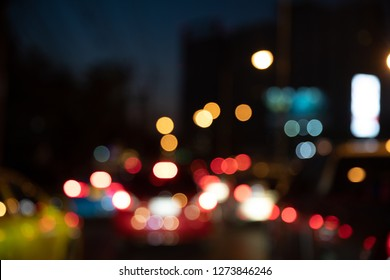 Abstract bokeh night traffic light background