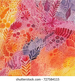 Abstract botanical watercolor ethnic painting.  Artistic handmade batik print, floral oriental textile, fabric.