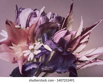 abstract bouquet. vintage colors. spring flowers, tulips and irises.