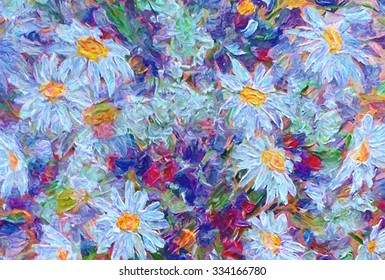 Abstract bouquet of white daisies. Digital painting