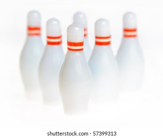 Abstract bowling pins isolated (high key)