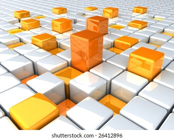 abstract boxes orange background