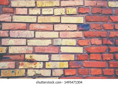 Abstract brick wall background. Yellow orange gradient color