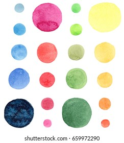 Abstract bright beautiful artistic wonderful bright blue, navy, turquoise, green, herbal, red, pink, yellow, orange circles pattern watercolor hand sketch. Perfect for textile design, wallpapers