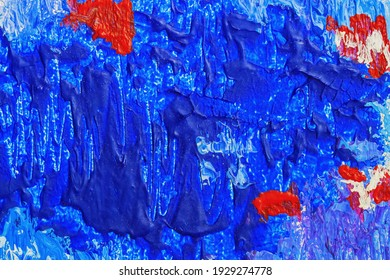 Abstract bright blue background with red Spots, drops, colorful texture. Abstract modern backdrop