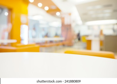 Abstract bright blurry restaurant background with few blurry unrecognizable customer