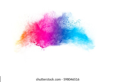 Abstract bright colorful powder on white background. Multicolor clouds. abstract color powder splatted on white background,Freeze motion of color powder explosion and multicolored glitter texture.