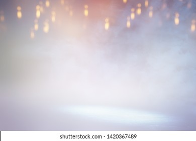 abstract bright concentrate floor scene with mist or fog, spotlight for display