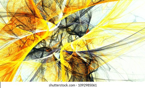 Abstract bright golden color motion composition. Modern futuristic dynamic background. Smoke grey and yellow pattern. Fractal artwork for creative graphic design