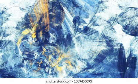 Abstract bright motion composition. Modern futuristic dynamic blue background. Color artistic pattern of paints. Fractal artwork for creative graphic design
