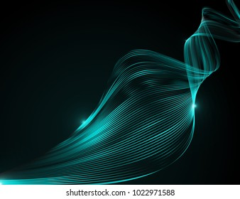 Abstract bright wavy lines on a dark blue background Futuristic technology illustration design The pattern of the wave line Abstract modern background for web site business Graphics Raster image - Shutterstock ID 1022971588