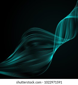 Abstract bright wavy lines on a dark blue background Futuristic technology illustration design The pattern of the wave line Abstract modern background for web site business Graphics Raster image