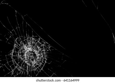 Abstract broken mirror on black background.