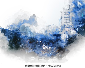 Abstract Building on watercolor painting background. City on Digital illustration brush to art