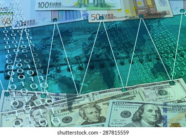 Abstract business background with card, dollars and  eu money