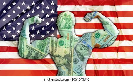 抽象的なビジネス背景。強力なアメリカドルのコンセプト。米国国旗とボディビルダーが米ドルの通貨を形成しました。米ドルの為替レートに関する財政コンセプト。