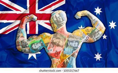 Abstract business background. Concept of powerful Australian Dollar. Australia Flag and bodybuilder shaped AUD   currency. Financial concept about exchange rate of Australian dollars.