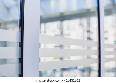 abstract business background, glass wall in office, airport, bank or hospital