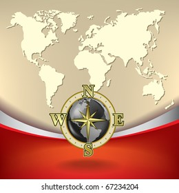 Abstract business background with map and gold compass