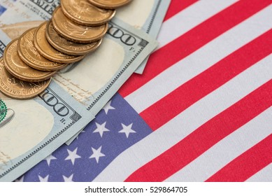 Abstract business background - us flag and cent coins, nationalism concept.