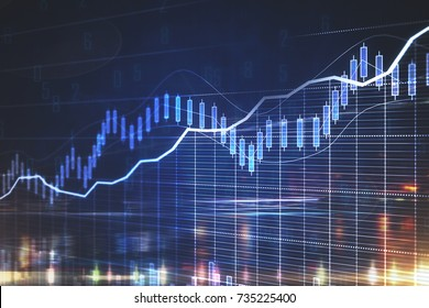 Abstract business chart on night city background. Forex concept. Double exposure