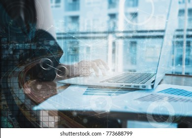 Abstract business concept blue tone with business woman using computer. Double exposure with different grapic lines, blur and flare.