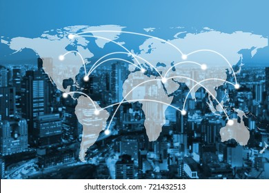 Abstract business on telecommunication network on global map and metro city background. elements of this images furnished by nasa