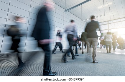 Abstract Business people walking in the office corridor