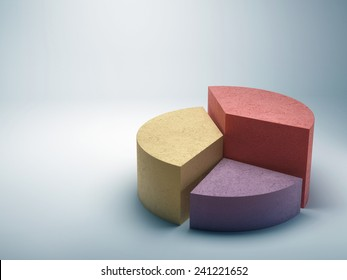 Abstract business pie chart made from colored concrete