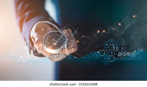 Abstract, Businessman holding compass of navigate on global economic crisis to resume business growth, Rethink, Reinvent and Recover. on graph growth background.